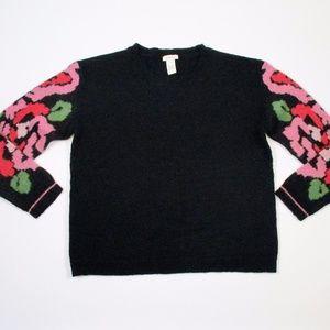 Sundance  Black Pink Floral Wool Blend Sweater EUC